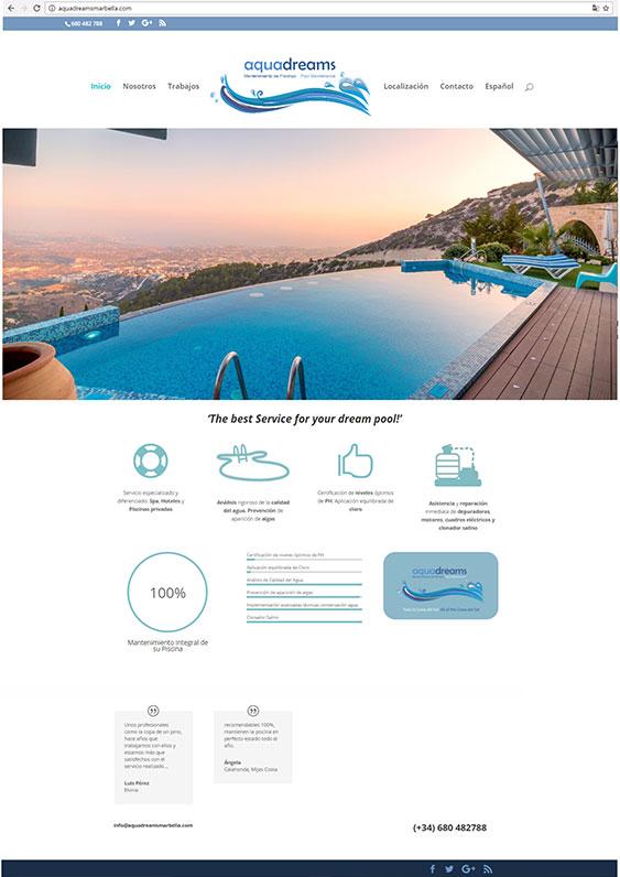 Web de Aquadreams Marbella