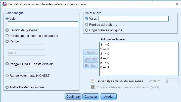recodificar en distintas variables con SPSS, variable con 7 categorías se recodifica en 6 variables dummies