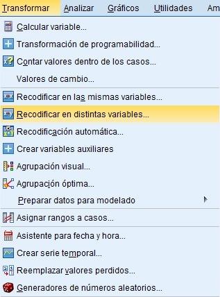 recodificar en distintas variables con SPSS