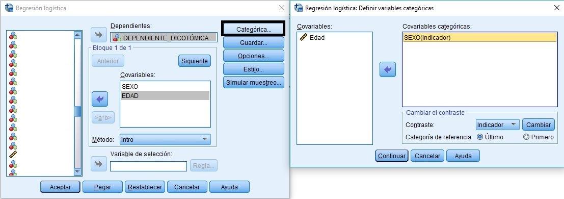 Definir variables categóricas en regresión logística binaria