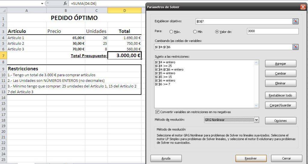 Solver en Excel