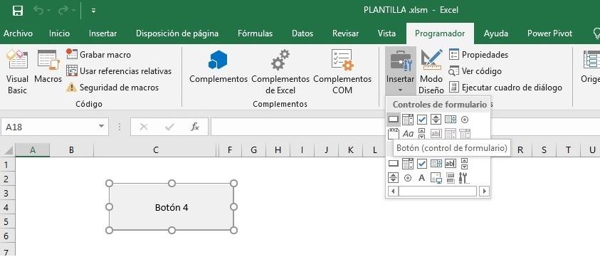 Insertar botón de comando en Macros para reclicar código VBA