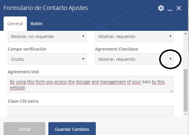 formulario de contacto con un maquetador visual