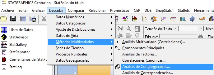 cluster con Stagraphics