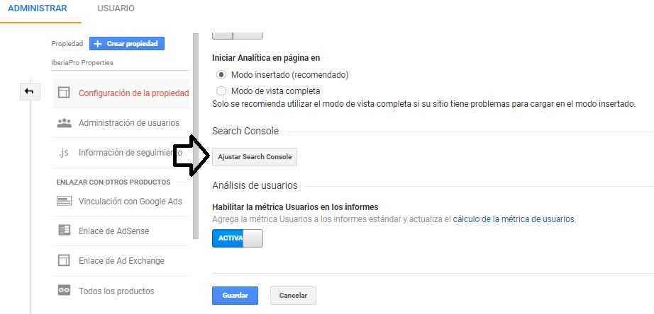 ajustar search console para https