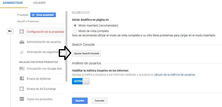 ajustar search console para https