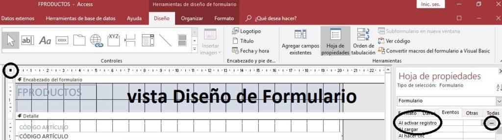 macro incrustada en un formulario de Access