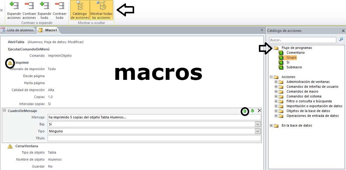 Catálogo de Acciones de Macros