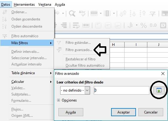 Filtros avanzados en LibreOffice CALC