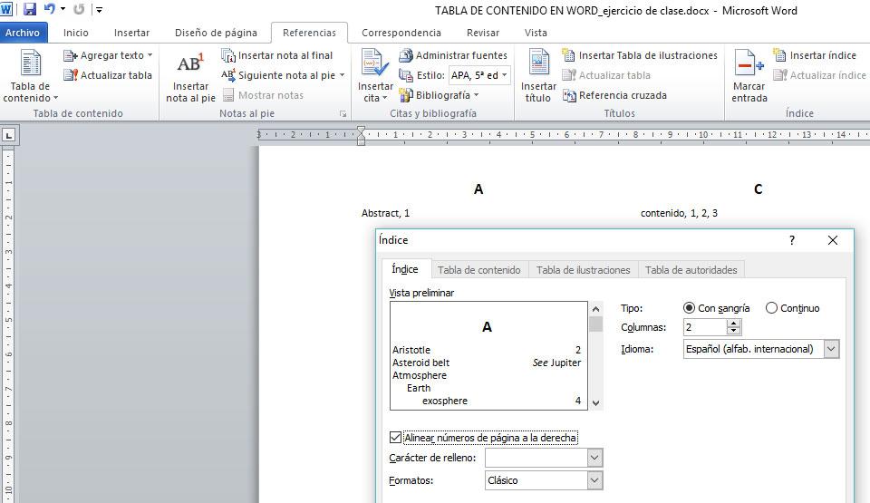 índices en Word con formato
