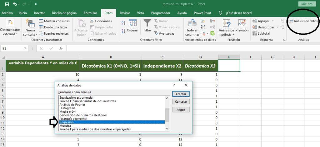 Opciones de Análisis estadísticos en Excel
