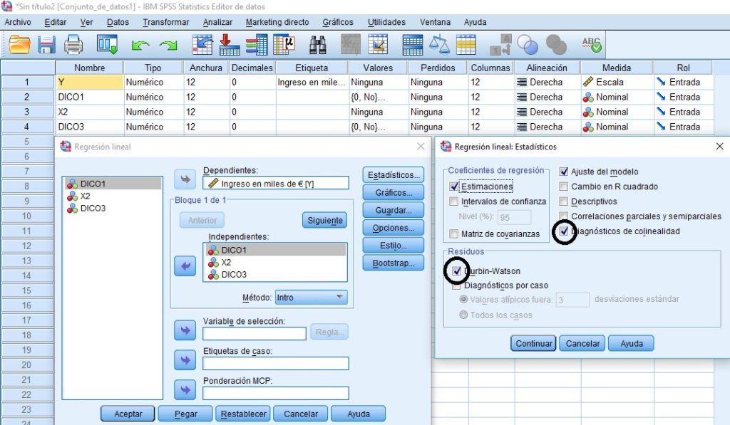 GLM con variable dicotómica con SPSS