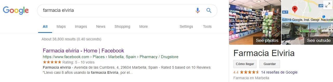 Seo de la Fan Page de Farmacia Elviria
