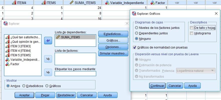 Test de Normalidad variable dependiente suma de los items