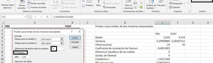 Comparativa de medias de muestras relacionadas en Excel