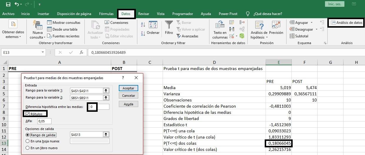 Resultados prueba T muestras emparejadas en Excel