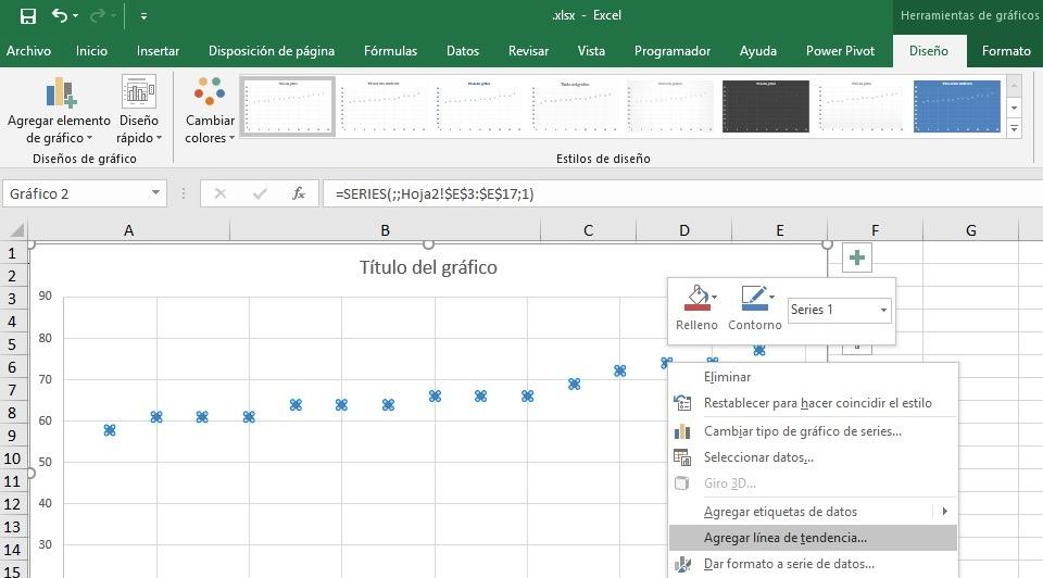 Línea de Tendencia en gráfico de dispersión en Excel