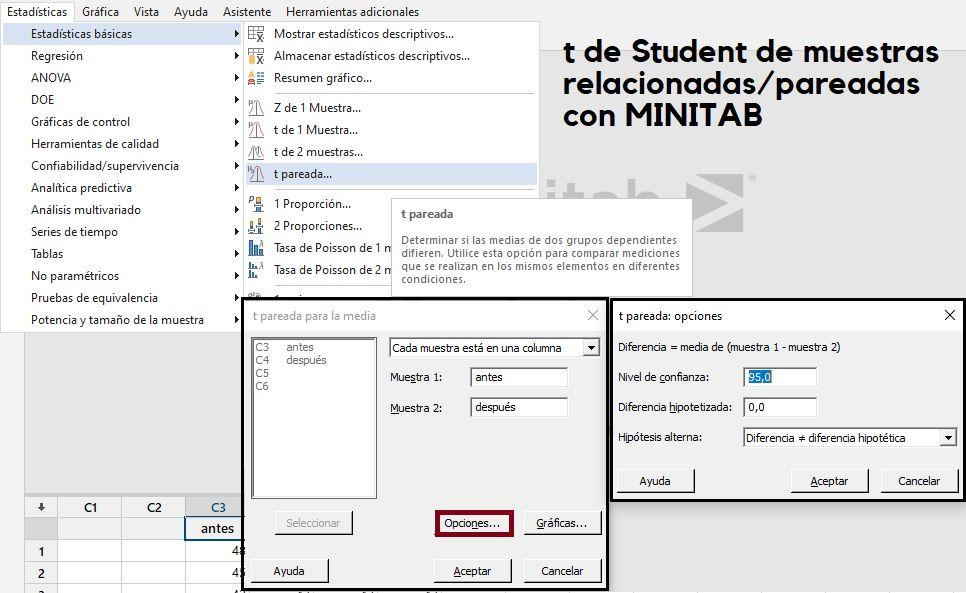 t de Student de muestras relacionadas con Minitab