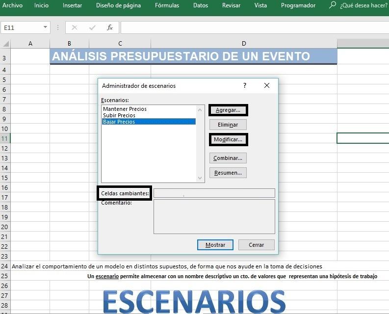 Administrador de Excenarios en Excel 2016