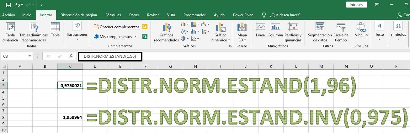 Valores y probabilidades de las tablas de la Normal en Excel