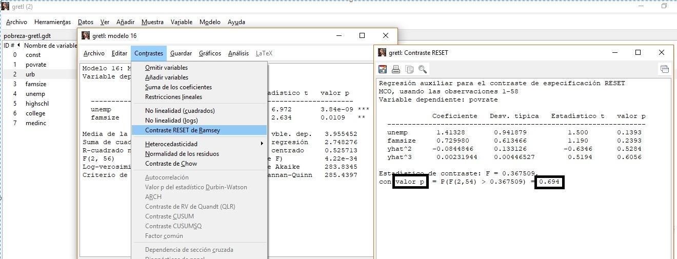 Detección de errores de especificación: Contraste de Reset- Ramsey