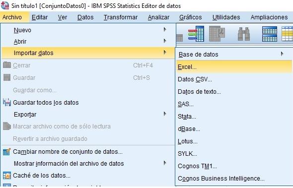 Importar datos de Excel a SPSS
