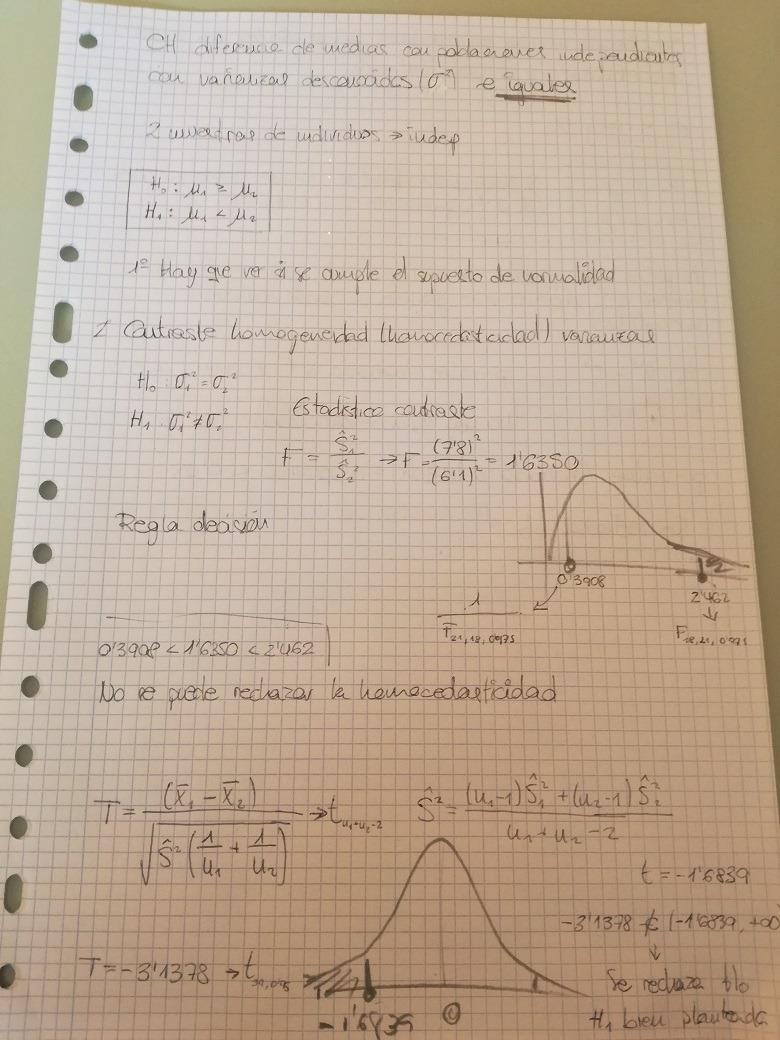 Cálculo de la T de Student a papel