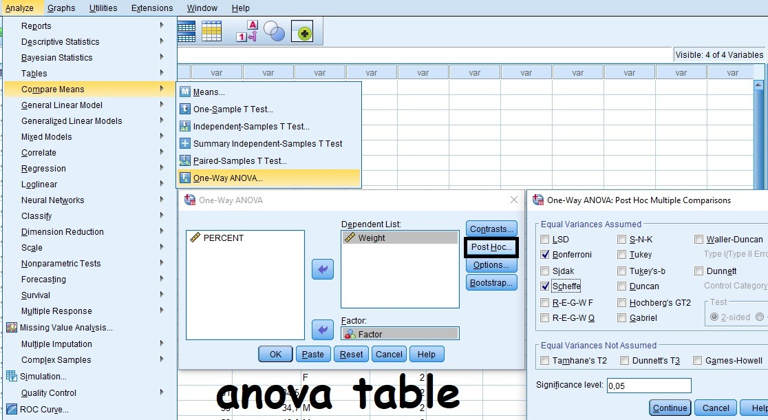 ANOVA Table with SPSS