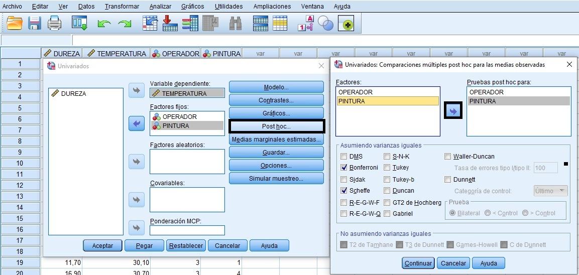 Comandos de menu SPSS del ANOVA con 2 FACTORES