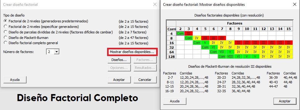 DOE Diseño Factorial Completo interfaz
