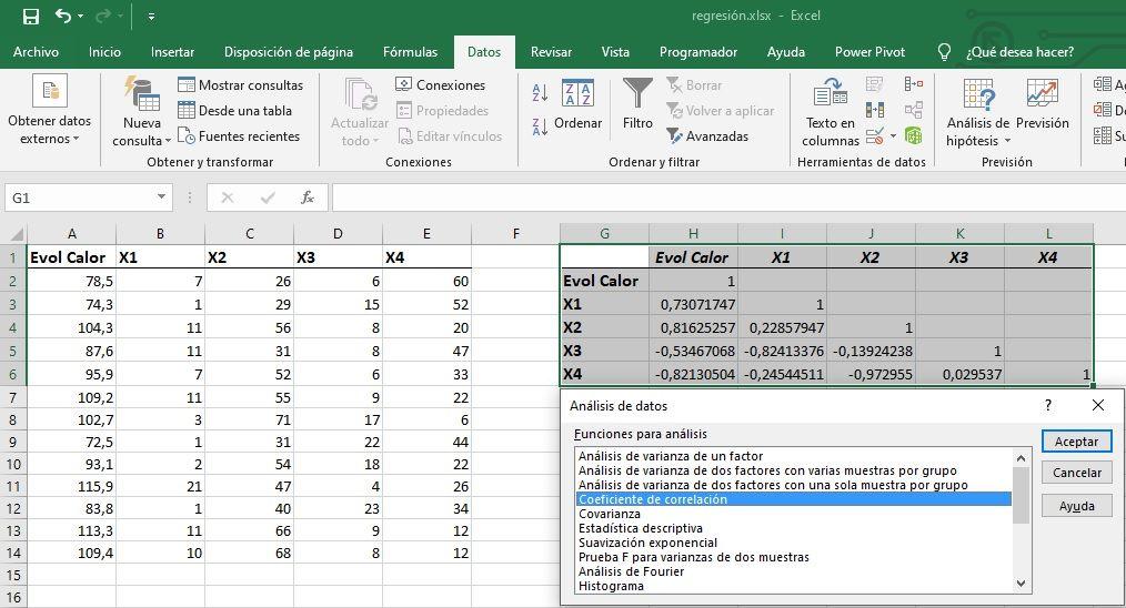Correlaciones en Excel