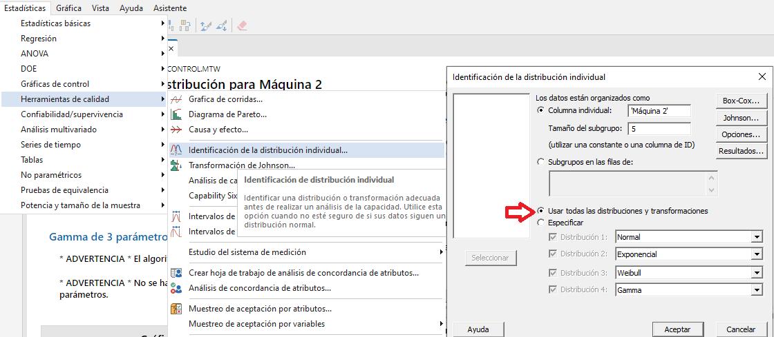 identificación distribución individual en Minitab