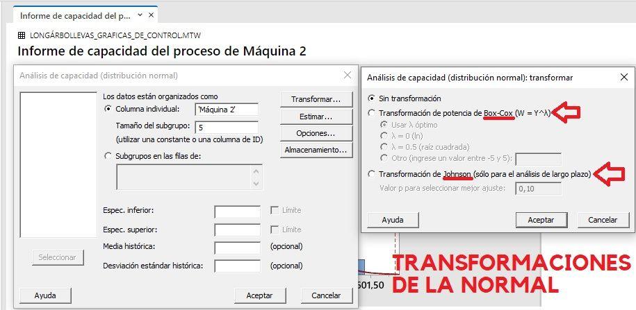 Transformaciones de la normal para estudiar la capacidad del proceso