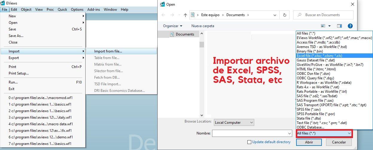 Importar archivo a Eviews